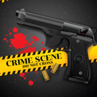 crime scene banner and gun