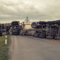 A flipped over truck