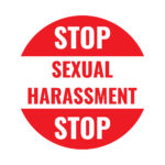 white:red sexual harassment sign