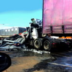 Truck trailer pickup or car went accident on the main highway road