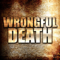 wrongful death, written on vintage metal texture