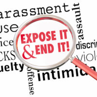 Expose End Harassment Abuse Assault Magnifying Glass 3d Illustration