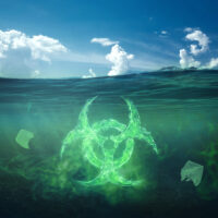 Ocean pollution by toxic waste. Biological waste. The concept of chemical waste, pollution of nature, toxins