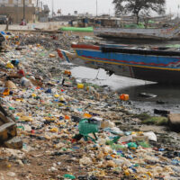 Pollution on the beach of beach of Senegal, africa