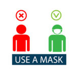 Use a face mask. You are not allowed to enter without a mask. The masked man and the unmasked man. Sticker, icon. Vector flat illustration