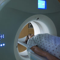 Woman Receiving a medical Scan for Breast Cancer Diagnosis