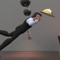 The waiter in the restaurant falls. 3d rendering